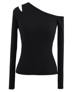 Asymmetric Cut Out Cold-Shoulder Fitted Knit Top in Black