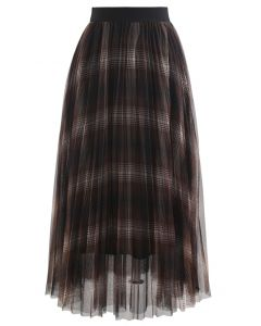 Plaid Pattern Double-Layered Mesh Tulle Midi Skirt