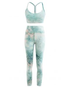 Tie Dye I-Shaped Back Sports Bra and Butt Lift Leggings Set
