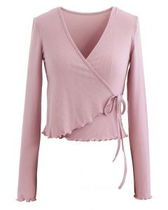 Lettuce Edge Cropped Wrap Top in Dusty Pink