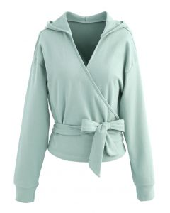 Self-Tied Front Cropped Hoodie in Mint