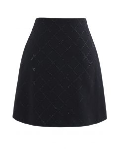 Flickering Diamond Shape Bud Skirt in Black