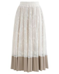 Spliced Faux Leather Hem Floral Lace Skirt
