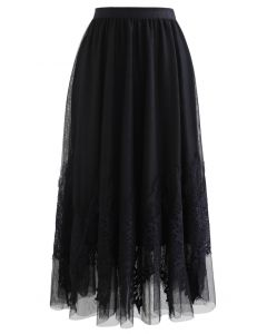 Tassel Lace Double-Layered Tulle Mesh Skirt in Black