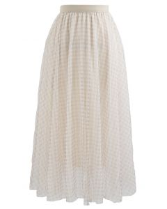Metallic Thread Double-Layered Tulle Mesh Skirt in Cream