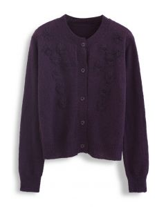 Delicate Stitch Flower Knit Cardigan in Purple