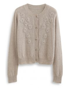 Delicate Stitch Flower Knit Cardigan in Taupe