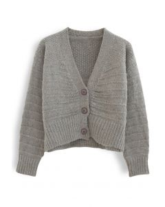 V-Neck Button Down Fuzzy Knit Cardigan in Grey