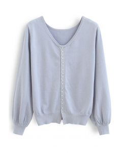 Pearl Trim Shimmer Knit Top in Blue