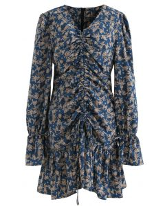 Floral Drawstring Ruched Front Dress in Indigo