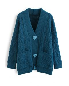 Irregular Button Pocket Braid Cardigan in Indigo