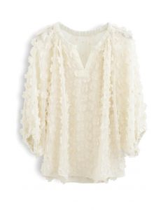 3D Clover Sheer Puff Sleeves V-Neck Top in Cream