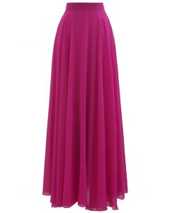Timeless Favorite Chiffon Maxi Skirt in Magenta