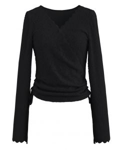Side Drawstring Textured Wrap Lace Top in Black