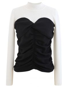 Sweetheart Spliced Ruched Knit Top in White