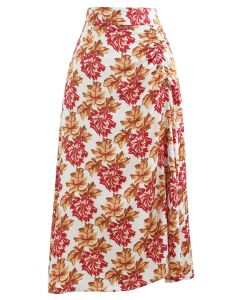 Red Floral Print Ruched Side Slip Skirt