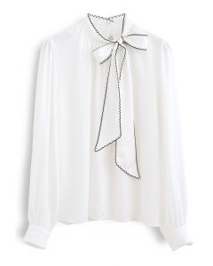 Seamed Edge Bowknot Textured Satin Top in White