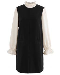Ruffle Neck Wool-Blend Twinset Dress in Black