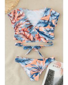 Tropical Leaves Wrapped Bikini Set