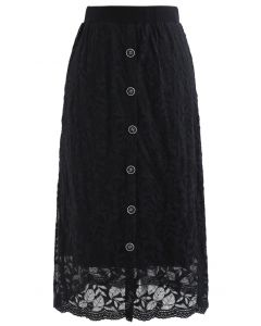 Leaves Pattern Button Lace Knit Midi Skirt in Black