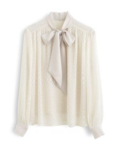 Spots Jacquard Chiffon Shirt in Cream