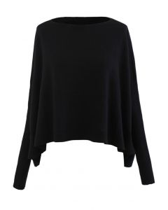 Soft Flare Hem Cape Sweater in Black