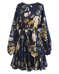 Navy Floral Printed Bubble Sleeves Frilling Dress