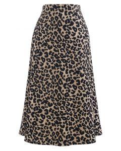 Wild Leopard Print A-Line Midi Skirt