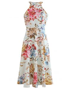 Gorgeous Floral Print Halter Neck Midi Dress in Pink