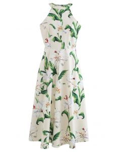 Gorgeous Floral Print Halter Neck Midi Dress in Green
