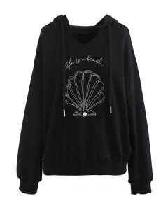 Scallop Embroidered Pearl Trim Hoodie in Black