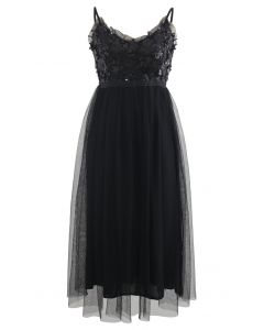 Sequined Shirred Mesh Cami Dress in Black