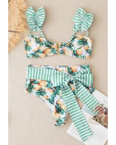 Striped Lemon Print Bowknot Bikini Set