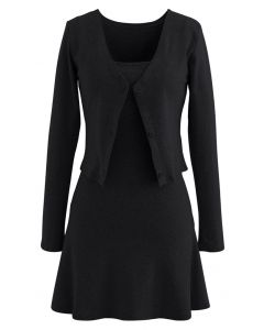 Cotton Blend V-Neck Button Twinset Dress in Black
