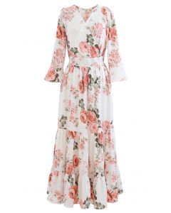 Pink Peony Wrap Ruffle Maxi Dress in White