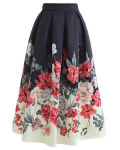 Splendid Blossom Print Prom Midi Skirt