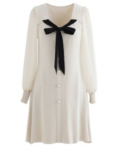Bowknot Button Trim Sheer Sleeves Knit Dress in Cream