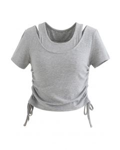 Fake Two-Piece Drawstring Crop Top in Grey