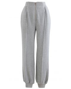 Zip Front Side Pocket Joggers in Grey