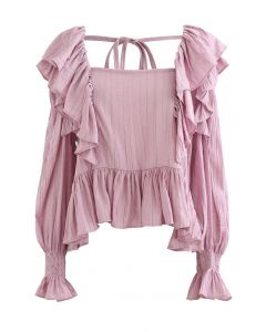 Square Neck Ruffle Crop Top in Pink
