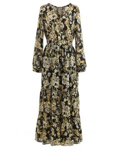 Floral Jacquard Frilling Wrap Dress