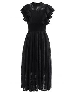 Tiered Ruffle Sleeveless Midi Lace Dress in Black
