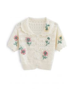 Hand-Knit Flower Eyelet Knit Cardigan in Cream