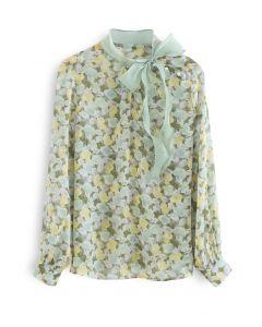 Rosebud Bowknot Glittery Semi-Sheer Top in Green