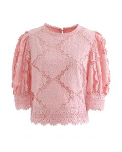 Blooming Flowers Crochet Bubble Sleeves Top in Pink