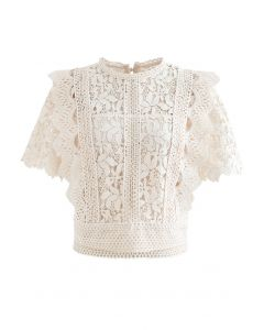 Lush Leaves Crochet Top in Cream