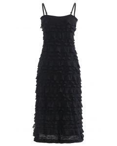 Tiered Ripple Knit Cami Midi Dress in Black