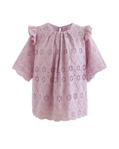Zigzag Eyelet Floral Embroidered Short-Sleeve Top in Pink
