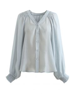 Hi-Lo Hem Buttoned Semi-Sheer Top in Dusty Blue
