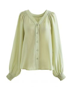 Hi-Lo Hem Buttoned Semi-Sheer Top in Moss Green